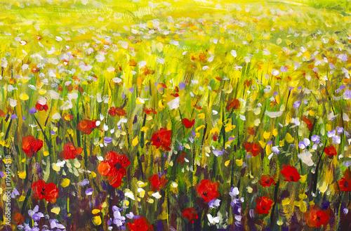 Fototapety stylowe  polne-kwiaty-w-dekoracyjnej-formie-stylu-malarskiego