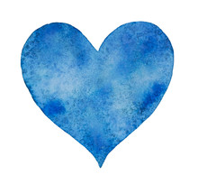 Watercolor Blue Heart Valentine Day