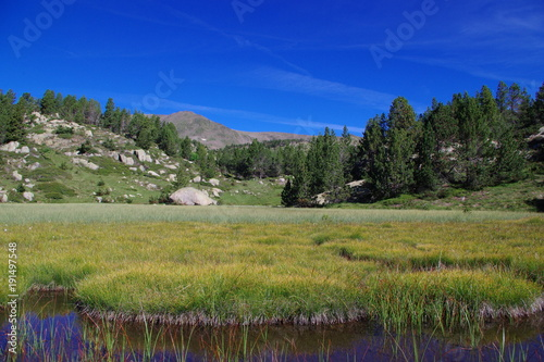Keuken foto achterwand Donkerblauw Lac de montagne sur fond de sommet