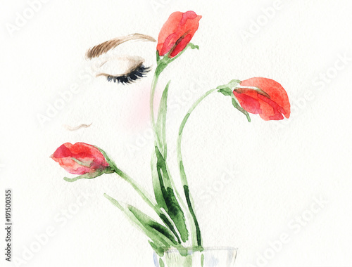 Poster Portrait Aquarelle Beautiful woman face and flower. Fashion illustration.