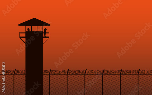 Canvas Print Silhouette watch tower and barbed wire fence in flat icon design on orange color