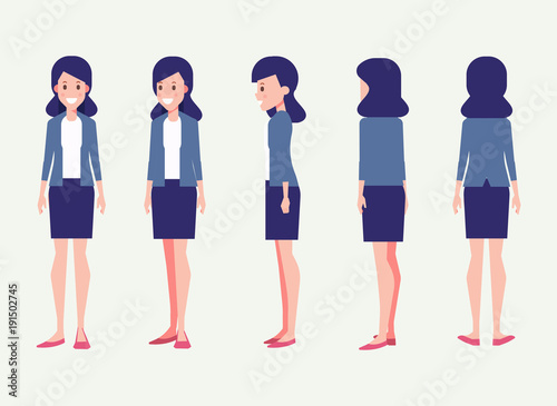 young woman for animation front side back 3 4 view character