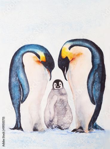 akwarela-przedstawiajaca-rodzine-pingwinow-cesarskich