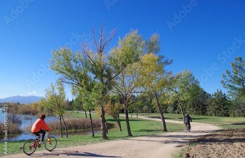 Papiers peints Olive Cyclistes le long d'un lac