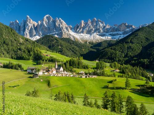 Fotografie, Obraz  Val di Funes valley, Santa Maddalena touristic village, Dolomites, Italy, Europe