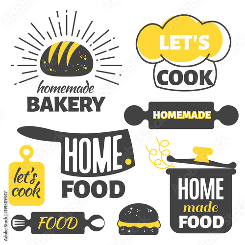 Photo Retro cooking badges - homemade food emblems set