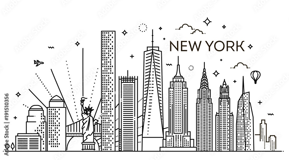 Fototapety, obrazy: New York city skyline, vector illustration, flat design