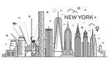 Fototapeta Nowy Jork - New York city skyline, vector illustration, flat design