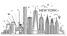 New York City Skyline, Vector ...