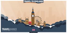 Travel To England. Travel And Tourism Poster. Vector Flat Illustration.