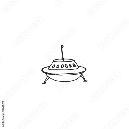 Cuadros en Lienzo Flying saucer vector draw