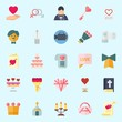 icons set about Wedding. with chat, marriage, wedding invitation, handbag, genders and crown