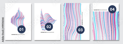 Photo Cover templates set, vector geometric abstract background