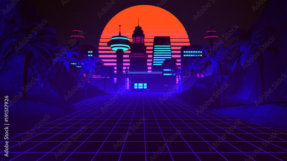 Fototapety, obrazy: 80s Retro Synthwave Background 3D Illustration