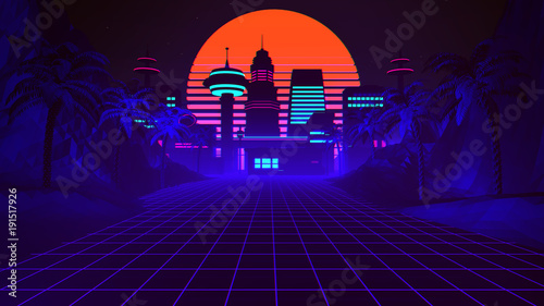 Fotografia, Obraz 80s Retro Synthwave Background 3D Illustration