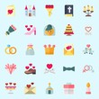 icons set about Wedding. with wedding invitation, candle, love letter, crown, gift and bible