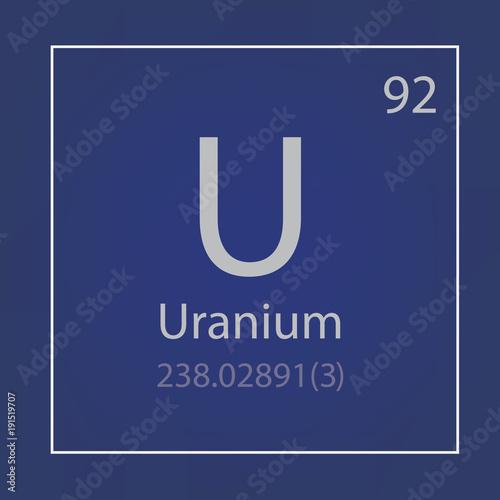 Fotografia  Uranium U chemical element icon- vector illustration