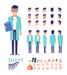 Doctor character for your scenes. Character creation set with various views,face emotions, lip sync, poses and gestures. Parts of body template for design work and animation.