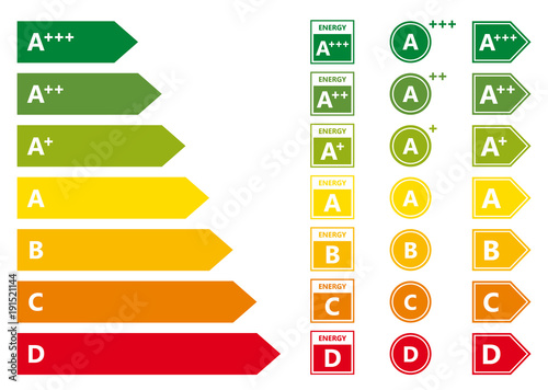 Fotomural  Energy Efficiency rating set isolated on white background