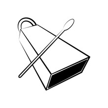Isolated Cowbell Outline. Musical Instrument
