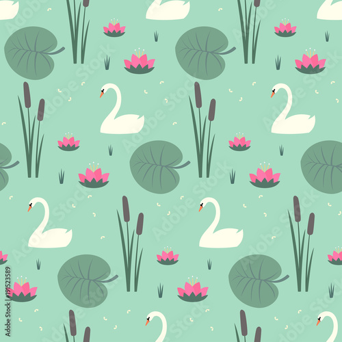 White swans, water lily, bulrush and leaves seamless pattern on mint green background. Cute lake life art background. Fashion design for fabric, wallpaper, textile and decor.