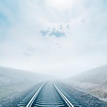Railroad In Fog. Sun In Misty ...