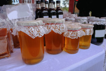 Selection Of Jars Of Honey Wit...