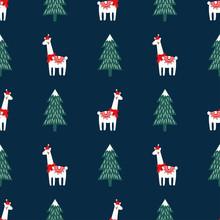Christmas Tree And Cute Lama W...
