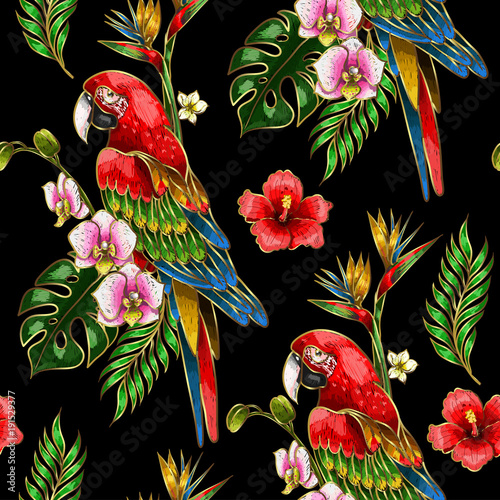 Fotobehang Papegaai Seamless pattern with ara parrot, palm leaves and hibiscus embroidery. Tropical texture for print.