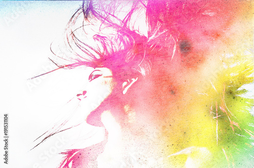 Woman's face on an abstract background.