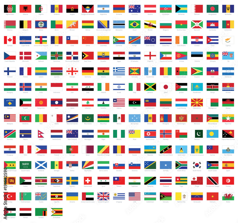 Fototapety, obrazy: All national flags of the world with names - high quality vector flag isolated on white background