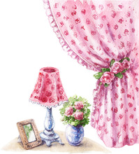 Watercolor Shabby Style Decor Items.