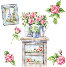 Watercolor Shabby Chic Furniture