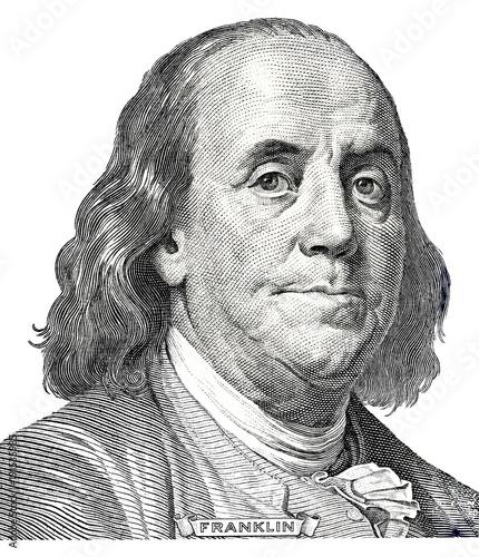 Photo Benjamin Franklin portrait from hundred dollars banknote
