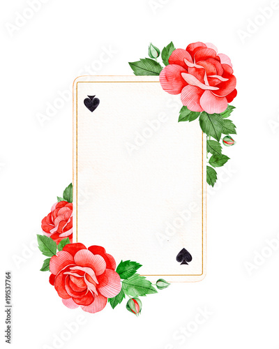 Wonderland collection.Lovely watercolor frame border with red roses ...