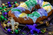 King Cake Surrounded By Mardi ...