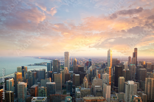Garden Poster City building Chicago skyline at sunset time aerial view, United States