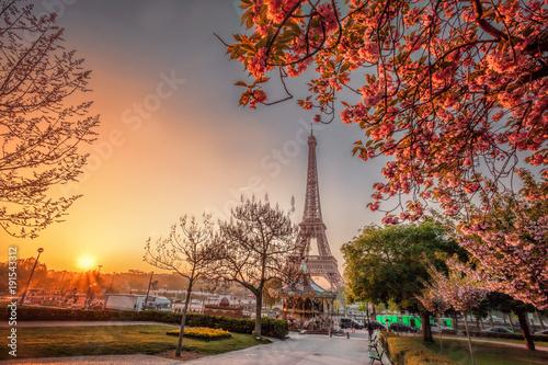 Zdjęcie XXL Wieża Eiffla z wiosennymi drzewami w Paryżu, Francja