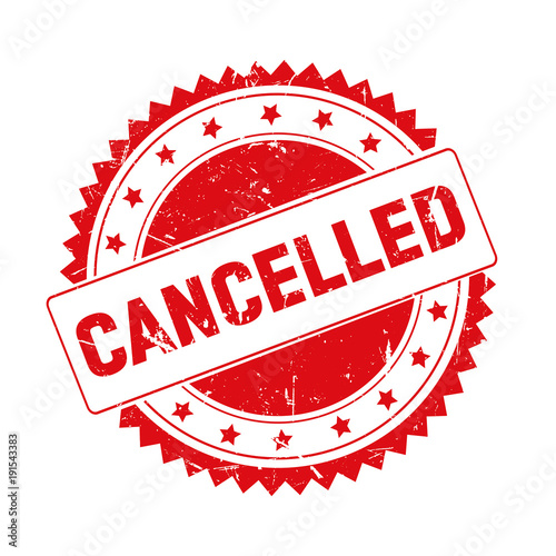 Fotografía  Cancelled red grunge stamp isolated
