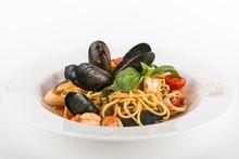 Spaghetti With Seafood Isolate...