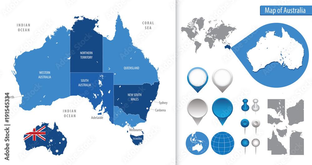 Detailed Map Of Australia.Photo Art Print Detailed Map Of Australia Europosters