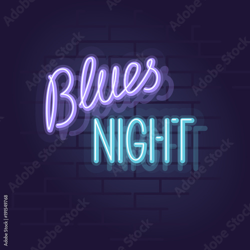 Neon blues night Slika na platnu