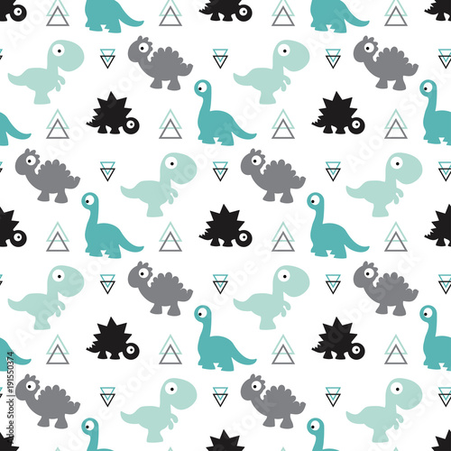 Photographie seamless dinosaur pattern