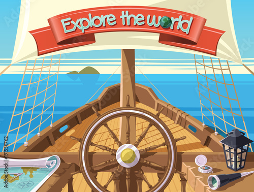 Explore the world with sailing ship Fotobehang