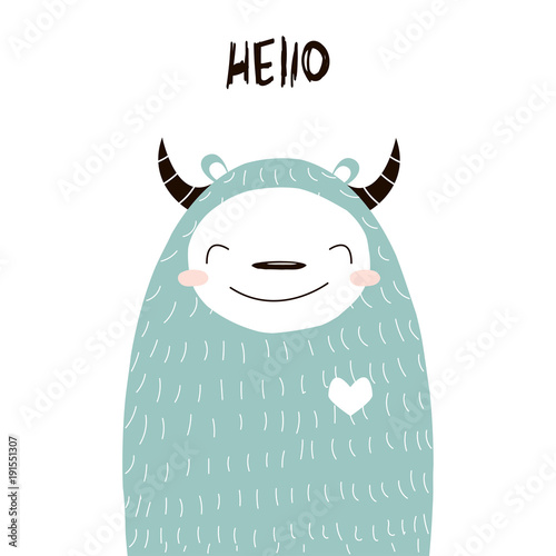 Funny yeti with quote. Vector hand drawn illustration.
