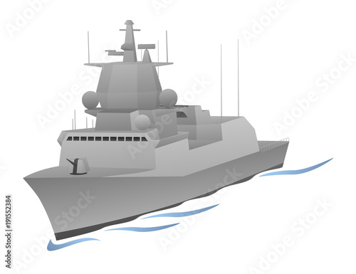 Naval Warship Vector Graphic Wallpaper Mural