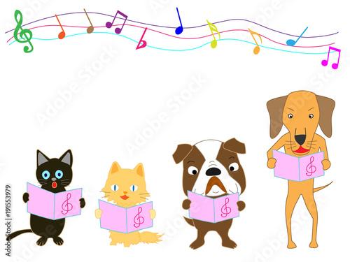 Wall Murals Bears 猫と犬のコンサート