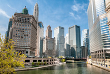 View Of Chicago Skyscrapers With Mather Tower And London Guarantee Building From Chicago River, Illinois, USA