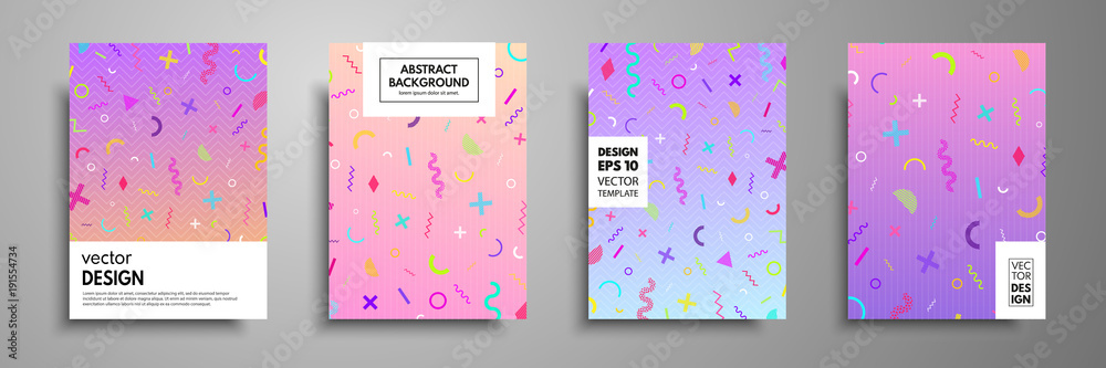 Fototapeta Placard templates set with abstract geometric elements. Memphis style cards. Collection of templates in trendy memphis fashion 80-90s. Applicable for placards, brochures, flyers, covers and banners.