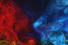 Red And Blue Swirling Smoke